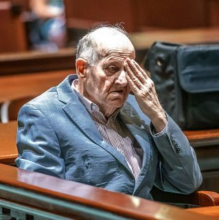 In a Monday, July 15, 2019 photo, Albert Flick, sits in court at his murder trial in Auburn, Maine. A jury convicted Flick on Wednesday in the 2018 death of 48-year-old Kimberly Dobbie.