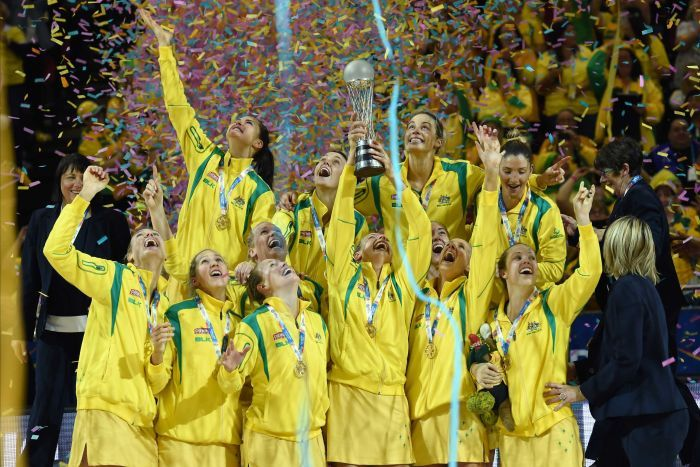 Australian netball players celebrate after winning the 2015 World Cup.