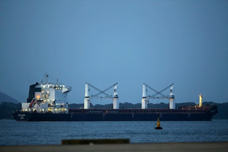 The Bavand, one of two Iranian ships stuck for weeks off the coast of Brazil, is seen anchored in the southern port of Paranagua