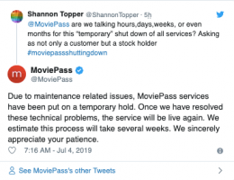 MoviePass temporarily suspends service to improve its mobile app