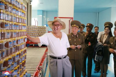 North Korean leader Kim Jong Un visits a factory in this undated photo released by North Korea's Korean Central News Agency, Pyongyang, 7 August 2018 (Photo: Reuters/KCNA)