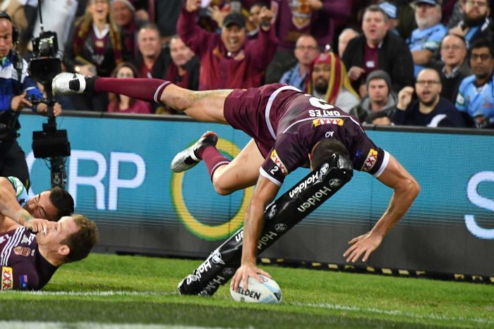 Corey Oates put the ball down with one hand while flying through the air