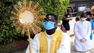 A Catholic procession through Abidjan, Ivory Coast - Sunday 22 March 2020
