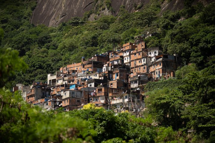 The Rocinha favela stands out from a hillside in Rio de Janeiro, Brazil, on March 16, 2020. Rocinha, Brazil's largest favela,