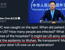 China government spokesperson suggests on Twitter that COVID-19 may have originated in the United States