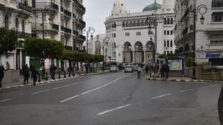 Empty street in the Algerian capital Algiers - 20 March