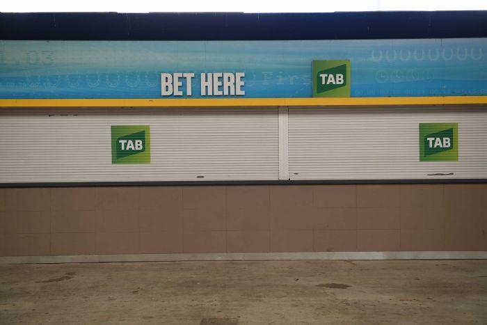An empty betting stall at Rosehill Gardens Racecourse during coronavirus pandemic.