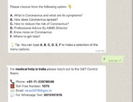 India launches WhatsApp chatbot to create awareness about coronavirus, asks social media services to curb spread of misinformation