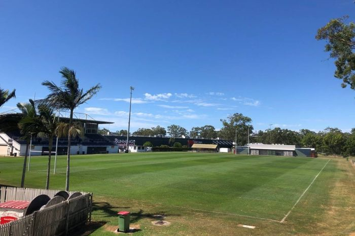 A rugby league field with a grandstand and clubhouse.
