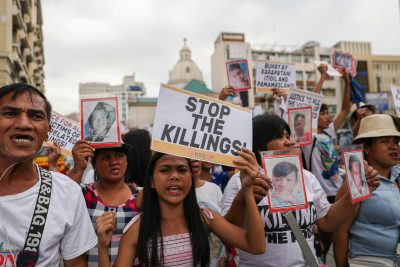 Filipino activists, and relatives of people killed in the country's war on drugs, hold a rally in observance of Human Rights Day in Manila, Philippines, 10 December 2019. (Photo:Reuters/Eloisa Lopez).