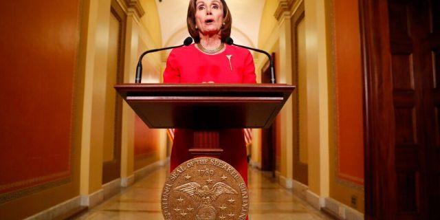 House Speaker Nancy Pelosi of Calif. speaks outside her office on Capitol Hill, Monday, March 23, 2020. (AP Photo/Andrew Harnik, Pool)
