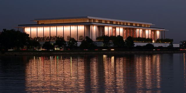 John F. Kennedy Center for Performing Arts shot at dusk across the Potomac in Georgetown