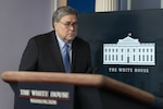 Attorney General William P. Barr arrives ahead of a Coronavirus Task Force news conference this week at the White House.