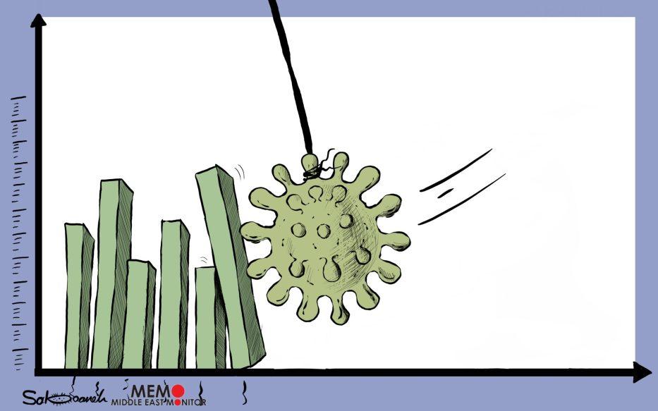 Cornavirus is affecting the world's economy - Cartoon [Sabaaneh/MiddleEastMonitor]