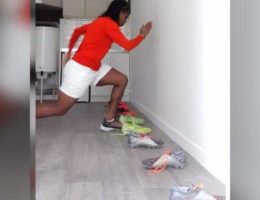 Keeping fit during coronavirus: Nigerian footballer's home workout using shoes