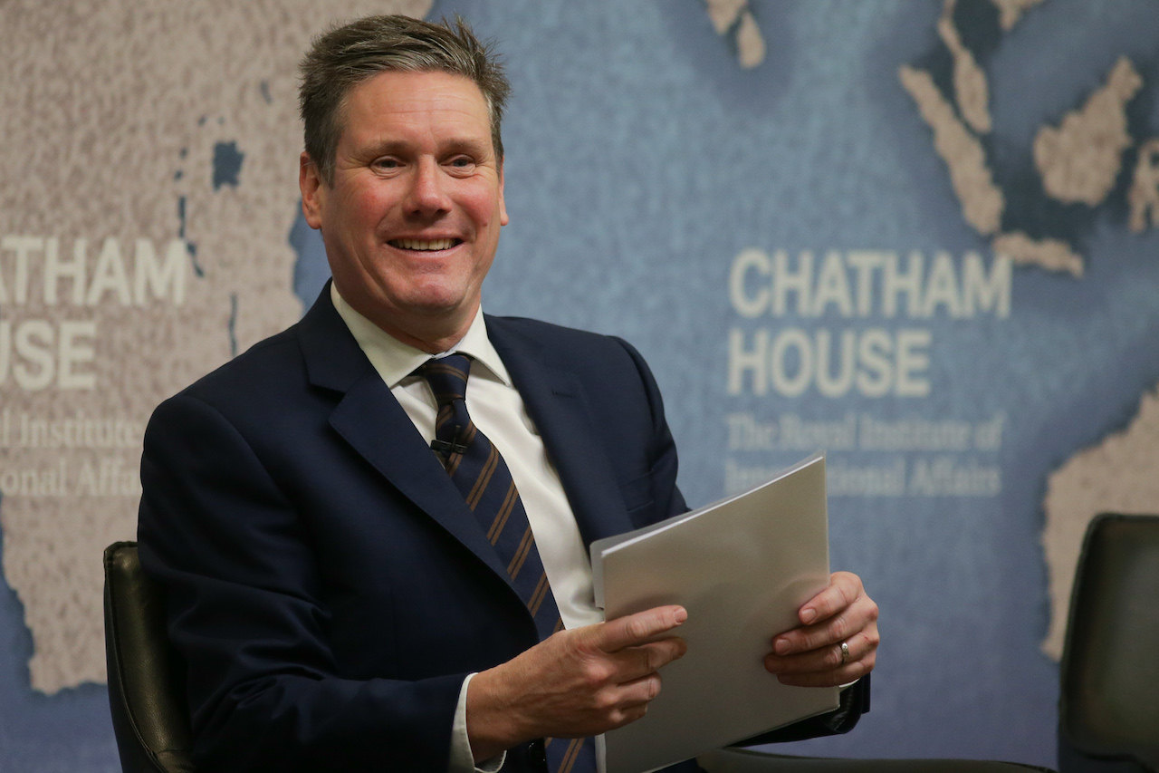 As Shadow Secretary of State for Exiting the European Union, Keir Starmer waits to start a speech at Chatham House (AFP)