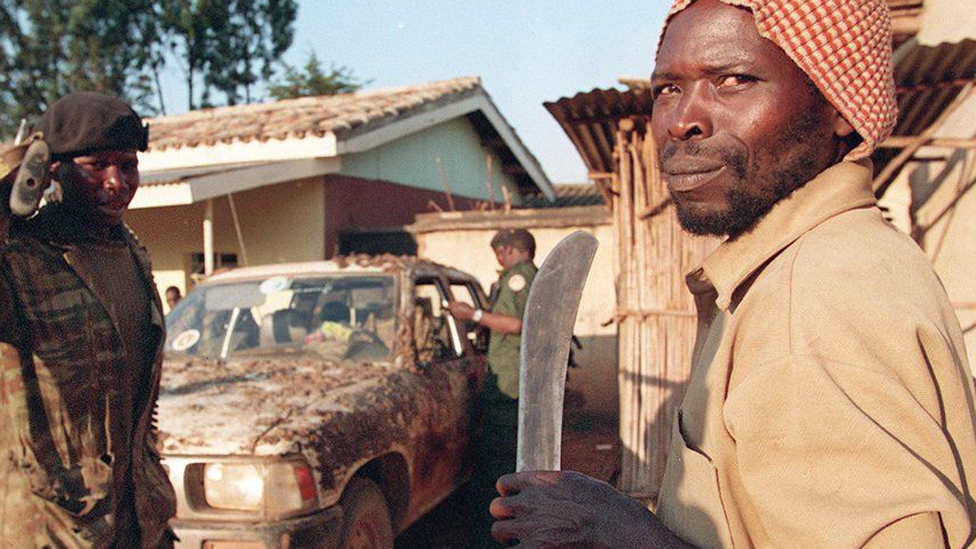 Interahamwe militiamen pictured in 1994