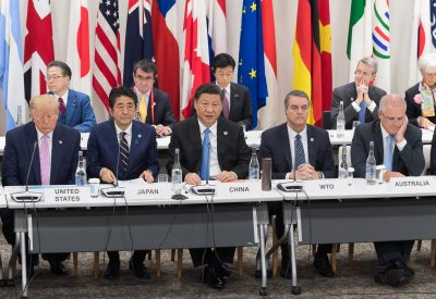 US President Donald Trump, Japanese Prime Minister Shinzo Abe, Chinese President Xi Jinping, WTO Director-General Roberto Azevedo, Australian Prime Minister Scott Morrison during a meeting on the world economy at the first day of the G20 Summit in Osaka, Japan on 28 June 2019 (Photo: Reuters/Jacques Witt).