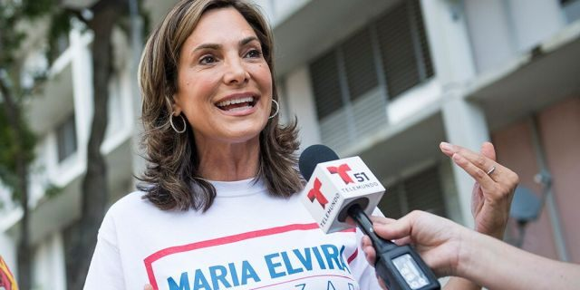 Maria Elvira Salazar, Republican candidate for Florida's 27th Congressional District, is interviewed at a Miami-Dade County housing facility on Election Day in Miami on November 6, 2018. (Photo By Tom Williams/CQ Roll Call)