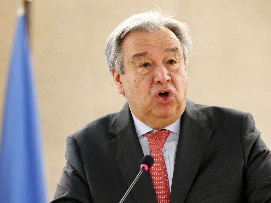 UN secretary-general Antonio Guterres addresses the Human Rights Council in Geneva.