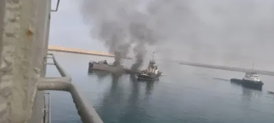 Images Are Released On What's Left Of The Iranian Navy ship After It Was Struck By A Missile In Friendly Fire Tragedy