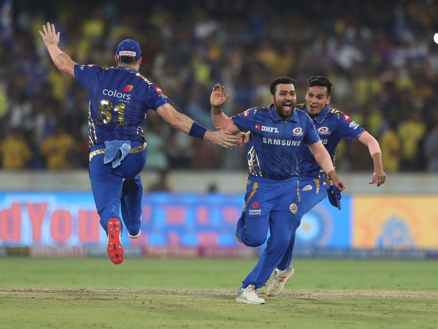 Mumbai Indians captain Rohit Sharma and teammates celebrate their IPL final win
