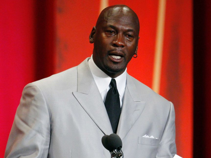 Michael Jordan cries during his induction speech for the Basketball Hall of Fame.