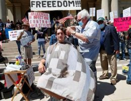 Michigan barbers, hairdressers give free haircuts at Capitol in defiance of Whitmer's coronavirus shutdown