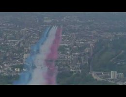 Red Arrows Do A Stunning VE Day Flypast Over London