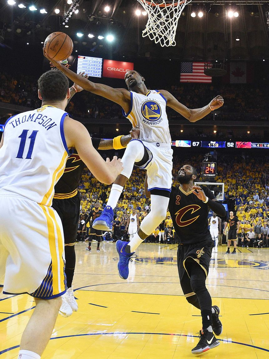 Kevin Durant shoots for Golden State against Cleveland in Game Five of the NBA Finals