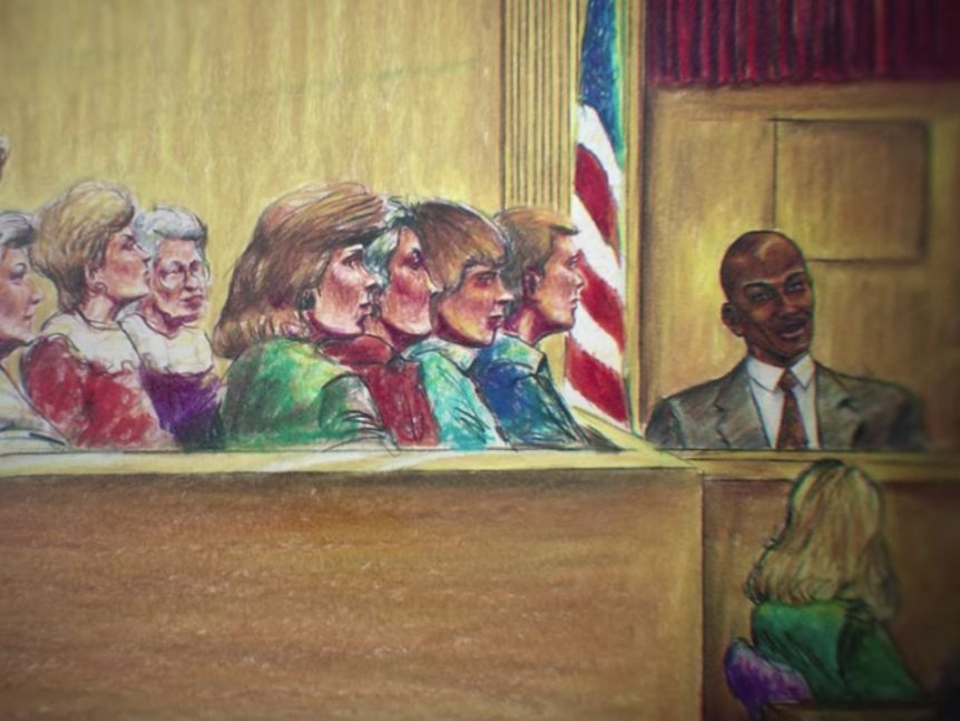 A court sketch of Michael Jordan in the witness box during the trial of Slim Bouler.