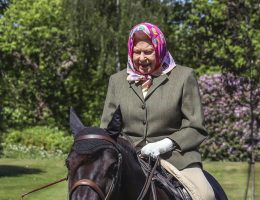 Queen Elizabeth photographed riding a horse at Windsor Castle