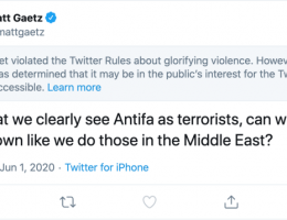 Twitter restricts Republican lawmaker's Antifa tweet for 'glorifying violence'