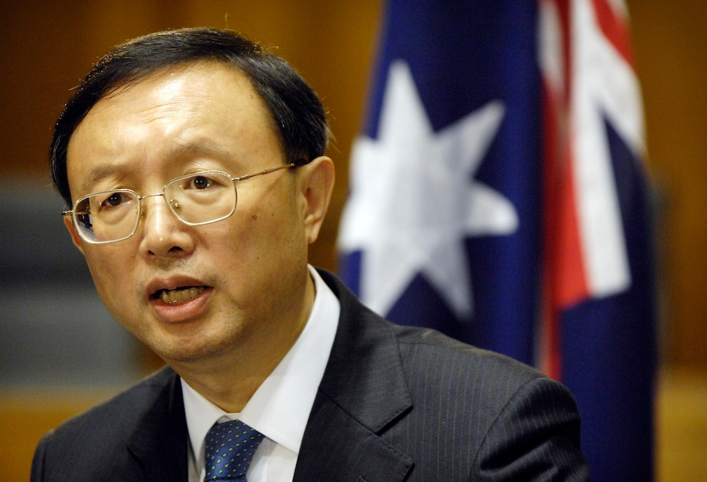 Chinese Foreign Minister Yang Jiechi at a press conference in Canberra.
