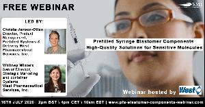 West Pharmaceutical Services to Host a Free Exclusive Webinar on Prefilled Syringe Elastomer Components