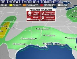Widespread storms from Southern Plains to Southeast; Subtropical depression forms in North Atlantic