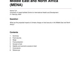 World: Helpdesk Report: K4D - The Projected Impacts of Climate Change on Food Security in the Middle East and North Africa (MENA)