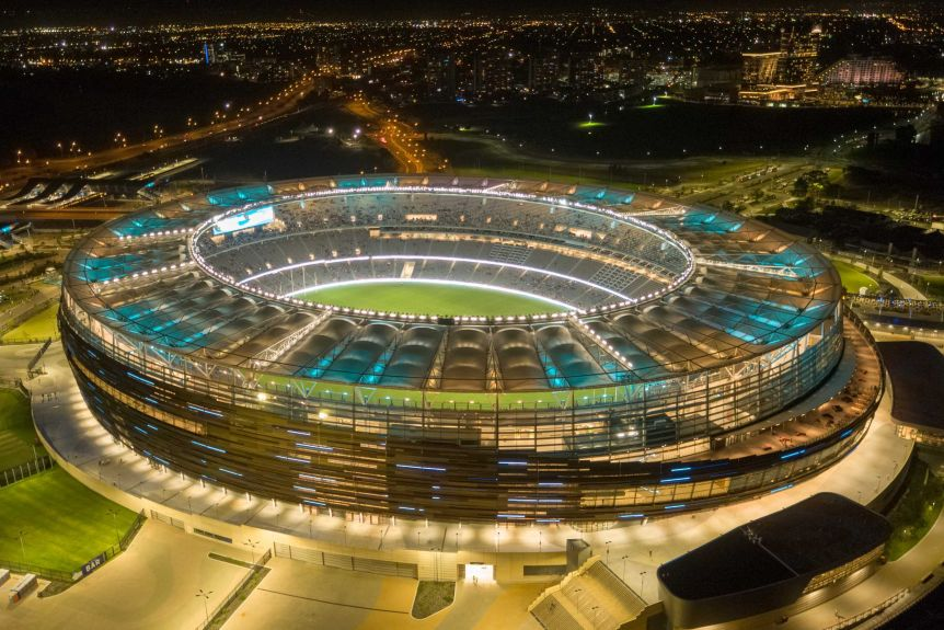 Perth stadium lit up at night