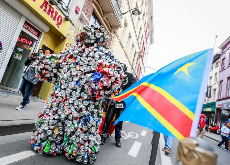 """People gather to participate in celebrations marking the 60th anniversary of Congo""""s independence from Belgium in the district of Matonge in Brussels, Belgium, June 30, 2020."""
