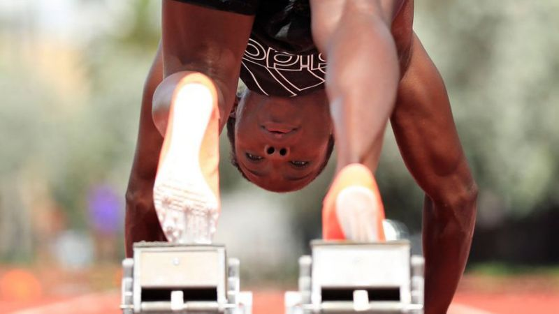 Murielle Ahoure of Ivory Coast gets set in blocks as part of a training session on June 29, 2020 in Miami Beach, Florida.