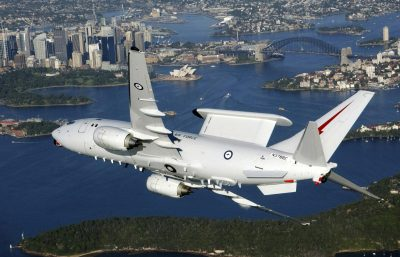 A Royal Australia Air Force (RAAF) Wedgetail aircraft flies over the Sydney Harbour (Photo: Australian Department of Defence via Reuters).