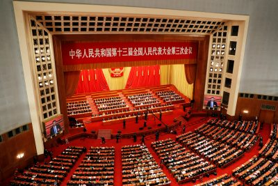 Chinese officials and delegates attend the closing session of the National People's Congress (NPC) at the Great Hall of the People in Beijing, China, 28 May 2020 (Photo: Reuters/Carlos Garcia Rawlins).