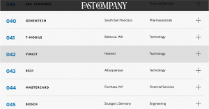 Fast Company Ranks Vincit a Best Workplace for Innovators
