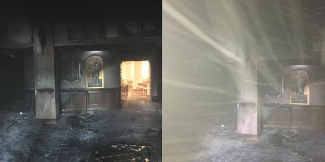 The foyer of the Queen of Peace Catholic Church in Ocala sustained major damage after the incident on Saturday morning.