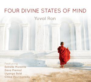 Four Divine States of Mind album cover with red robed monk at white temple.