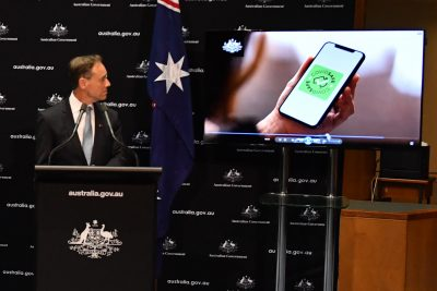 "Australian Minister for Health Greg Hunt speaks during a press conference to launch the new government app ""CovidSafe"" at Parliament House, Canberra, Australia."
