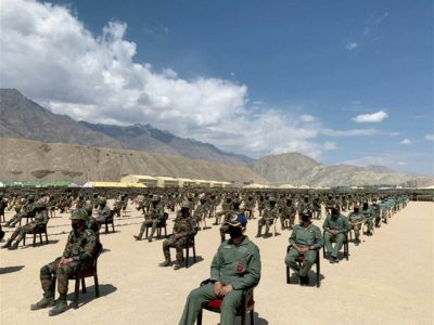 Soldiers await a visit by India's Prime Minister Narendra Modi in India's Himalayan desert region of Ladakh, India, 3 July 2020 (Photo: ANI via REUTERS TV).