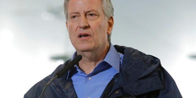 New York City Mayor Bill de Blasio speaks at the USTA Indoor Training Center on April 30, 2020. (AP Photo/Frank Franklin II, File)