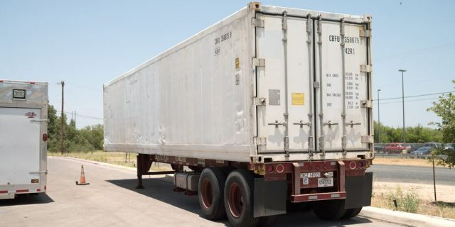 A refrigerated trailer that the San Antonio health authorities acquired to store bodies, as morgues at hospitals and funeral homes reach their capacity with the coronavirus disease (COVID-19) fatalities, is seen in Bexar County, Texas, July 15, 2020. City of San Antonio/Handout via REUTERS
