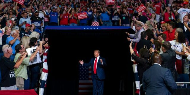 President Trump arriving on stage to speak at the campaign rally in Tulsa on June 20. (AP Photo/Evan Vucci, File)